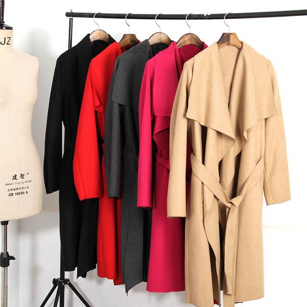 2018 Мода Широкий отворот женщин Осень пальто с поясом блудниц шерстяных Смешать Женщины Camel пальто кардиганы Пальто Femme S-XL Y191102