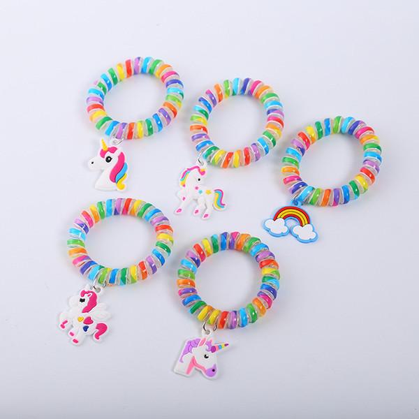 Großhandel Regenbogen Armband Armband Einhorn Kunststoff Haar Ring Kinder Armband Draht Linie Gum Elastisches Haarband Für Mädchen Seil Kleine Geschenke