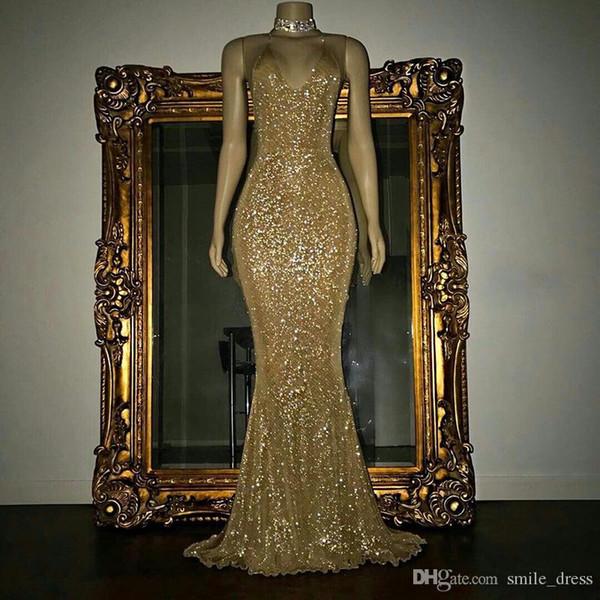 Abiti da sera oro Mermaid senza spalline Lunghezza pavimento Bling Bling Abiti con paillettes robes de soiree SE157
