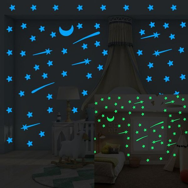 Meteor Shower Wall Stickers Luminous Stars Home Decal Fluorescent Moon Glow In The Dark Stars On The Ceiling Decal Sticker Cca11381 Large Wall Decals