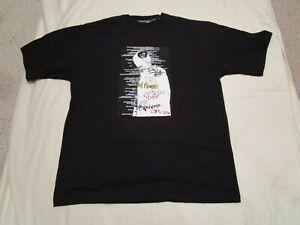 Erkek Karl Kani Graffiti Grafik Hip Hop DJ Tişört Siyah Beyaz Yeni Büyük