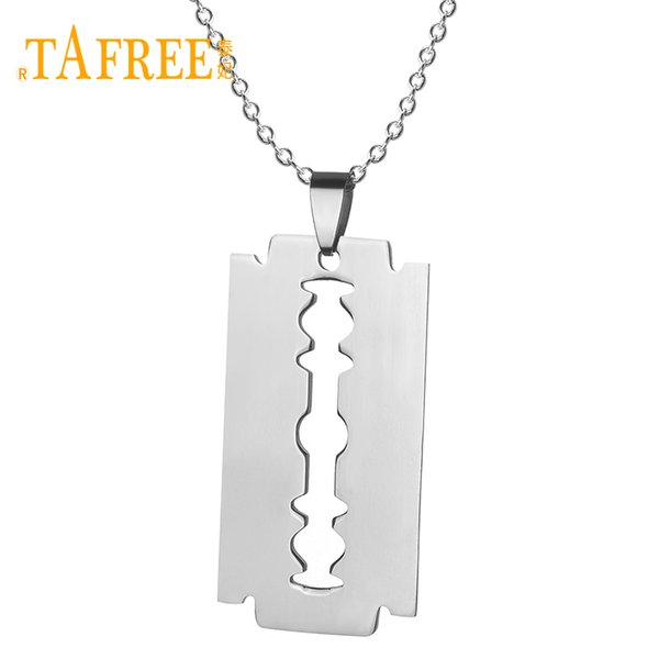 TAFREE No Fade Stainless Steel Razor Blades Pendant Necklaces Men Jewelry Shaver Shape Necklaces & Pendant With Link Chain SS005