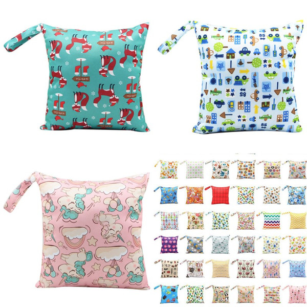 best selling Asenappy Reusable Diaper Wet Bags Cartoon Print Washable Wet Bags Mommy Travel Stroller Nappy Bags 89 Styles