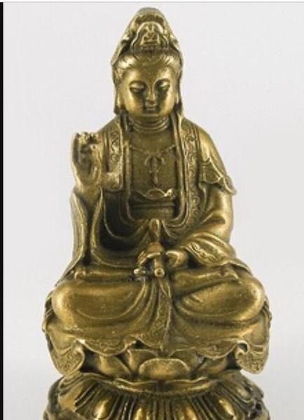 COPPER STATUE8 Shipping>Kwan Yin Kuan yin Bronze Sitting On Lotus Statue Figurine