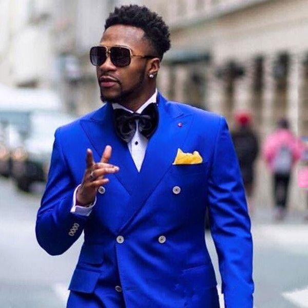 Custom Royal Blue Mens Prom Tuxedo Suits Pants Peaked Lapel Men Suits for Wedding Man Blazer 2Piece Coat Pants Slim Fit Terno Masculino