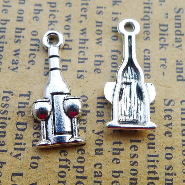 300pcs 9*21mm Antique tibetan Silver wine Bottle glass cup charms for bracelet vintage alloy metal pendants diy earring jewelry making