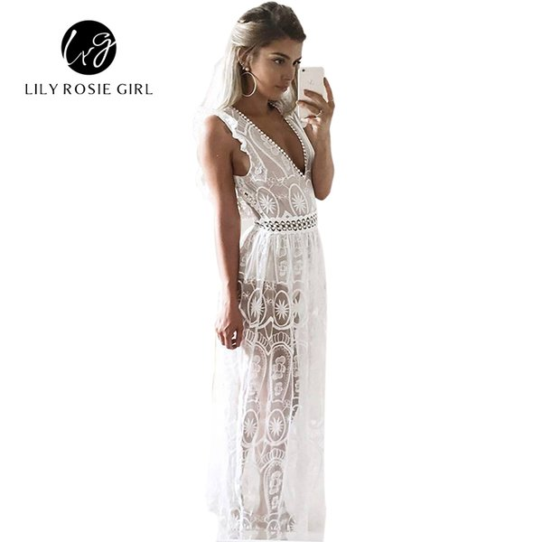 Sexy Hollow Out White Lace Dress Women Spring High Waist Sleeveless Backless Dress Elegant Christmas Maxi Long Dress Vestidos Y181227