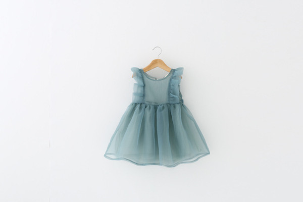 Girls dress foreign trade children's clothing 2019 new summer dress baby princess gauze skirt wooden ear fly sleeve bitter fleabane skirt