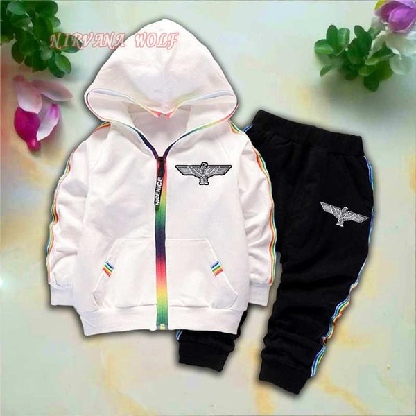 BOY Eagle Style Kids Cardigan Coats And Pants 2Pcs/sets 1-4T Children Sports Sets Rainbow Zipper Long Sleeve Colorful Striped