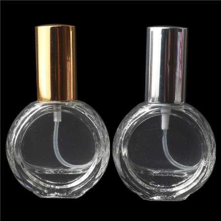 10 ml Garrafa De Perfume De Vidro Vazio Frasco De Perfume De Viagem Portátil Frasco De Spray Com Prata Brilhante / Cap Cores Do Ouro (30 pçs / lote)