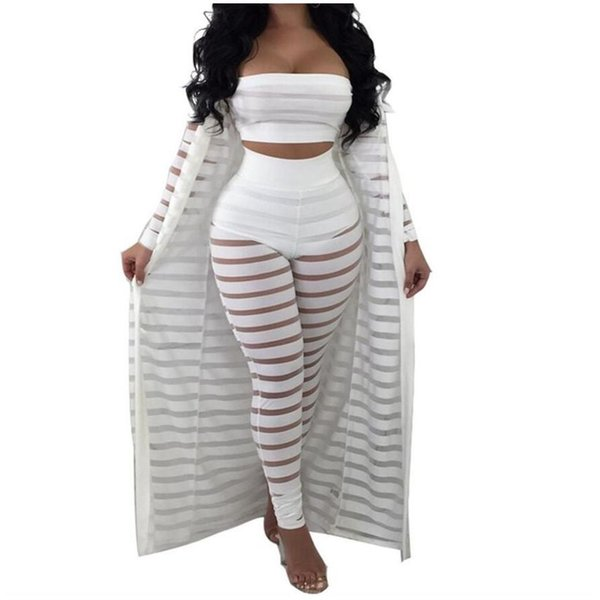 Big Size Summer Tracksuit Hollow Out Stripe Overalls Sexy Women's Set Three Pieces Suits Jumpsuit Casual Nightclub Wear S-3xl