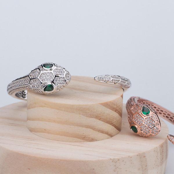 Designer Luxury Bangles Fashion Big Snake Head Casual Bracelets Quality Mens Womens Wedding Wristlet Rose Silver Bangles Couples Wristbands
