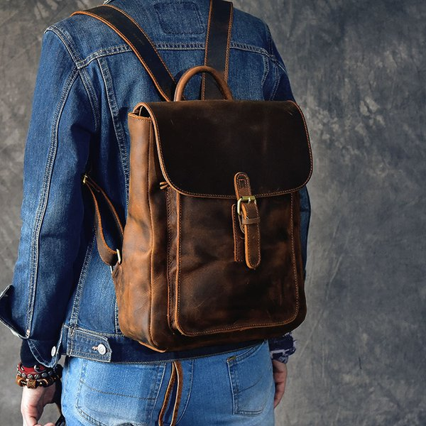 Men Backpack Genuine Leather Vintage Daypack Travel Casual School Book Bags Brand Male Laptop Bags Rucksack