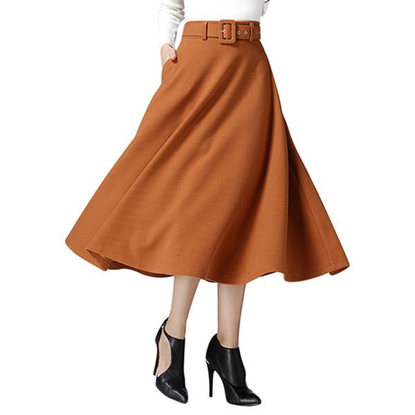 Kenancy Spring Fall Woolen Women Skirts Double Layer Wide Belts Swing Rockabilly Skirts Office Work Mid Calf Female Skirts