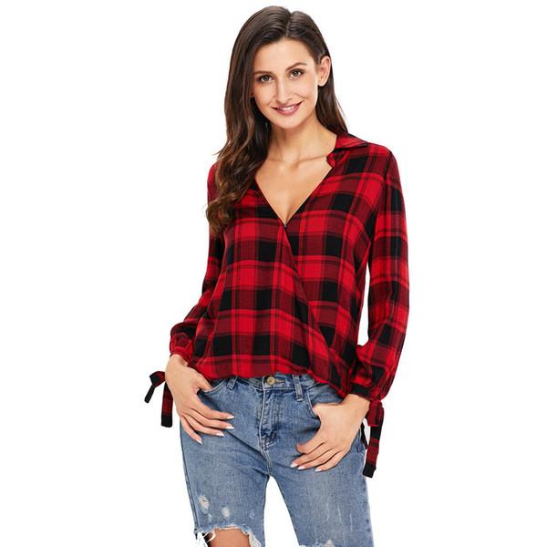 Los nuevos puños de manga larga impresos con cuello en V de 2019 se pueden enviar con una camiseta de gran tamaño para mujer