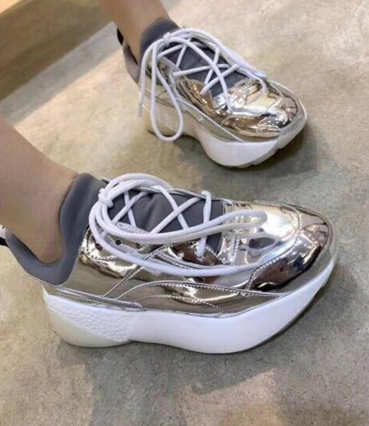 648429696b71 2019 Designer Luxury Fashion womens neon Mirror silver leather Trainer  Shoes Lace Up Low Top Flat
