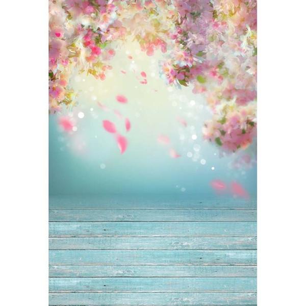 Blau Wood Floor Floral Hintergrund-Foto Studio Portrait Hintergrund Baby-Dusche-Dekoration für Kinder Indoor Hochzeit Props