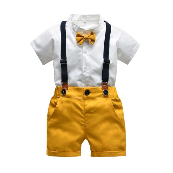 CHAMSGEND Infant Baby Boys Gentleman Bow Tie T-Shirt Tops+Solid Shorts Overalls Outfits Boys Clothes Kids Set Clothes 19June04