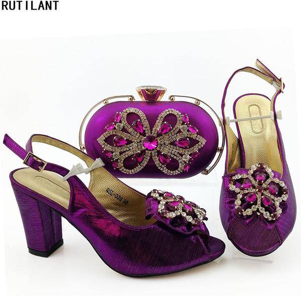 Últimas sapatos e bolsa Set decorado com apliques de mulheres Africano Matching sapatos italiano e Bag Set Plus Size Shoes Mulheres Heel