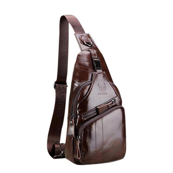 Business Waist bags Genuine Leather Man Messenger Bag Male Casual Crossbody Shoulder Bag Fashion Leather Men's chest Handbag