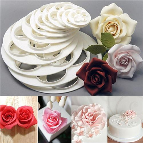 Fondant Mold Cake Rose Flower Mould Cookie Candy Cake Paste Decoration Cutter Tool Kitchen Baking Tools Different Size 6Pcs