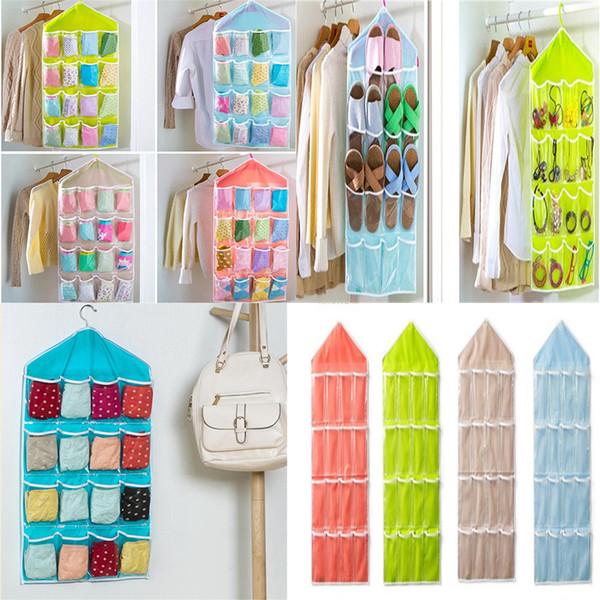 5 Colors 16 Pockets Clear Over Door Hanging Bag Shoe Rack Hanger Storage Tidy Organizer Fashion Home dc329