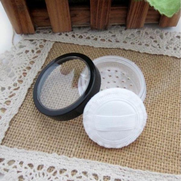 Tarro de polvo suelto de 20 ml / 15 g con contenedor de brillo de uñas con tamiz con ventana transparente tapa de borde negro