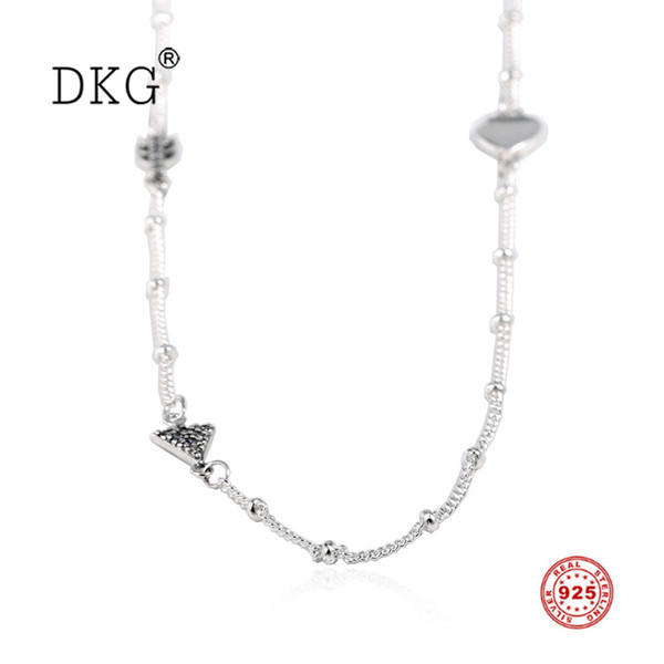 2019 New Real 100% 925 Sterling Silver Shiny Cupid Love Heart Necklace for Women Necklace DIY Jewelry Valentine's Day Present