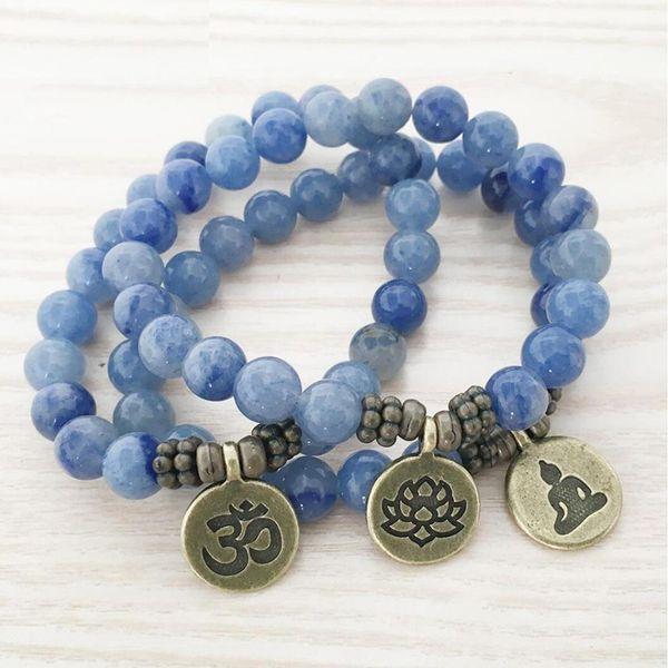top Handmade Natural Blue Aventurine Mala Bracelet crystal lotus, OM, Buddha charm women bracelets or necklace dropshipping