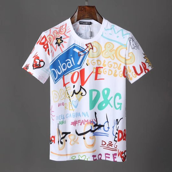 2019 new product recommended menswear designer brand T-shirt signature graffiti DG print multi-line front and back letters loose shirt