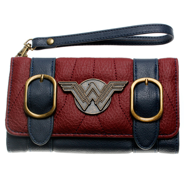 Wonder Woman Wallet Cartera Mujer Double Buckle Tri Fold Flap Purse Blue Bordeaux Red Embroidered Metal Badge Wallet Femal