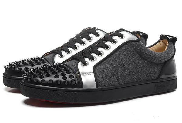 Mükemmel Sokak Retro Erkekler Kadınlar Tasarımcı Ayakkabı, Düşük Üst Kırmızı Alt Sneakers Rahat Yürüyüş Daireler Parti Spike Parti Düğün Sneakers Indirim