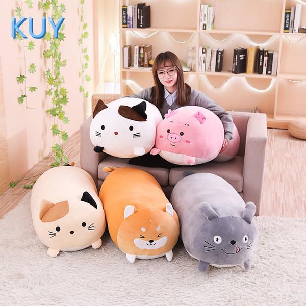 60 / 90cm New Giant Cute Peluche Bambola di pezza Lovely Cat Dog Pig Toroto Divano Cuscino Cuscino Per Bambini Placare Giocattolo Home Decor J190717