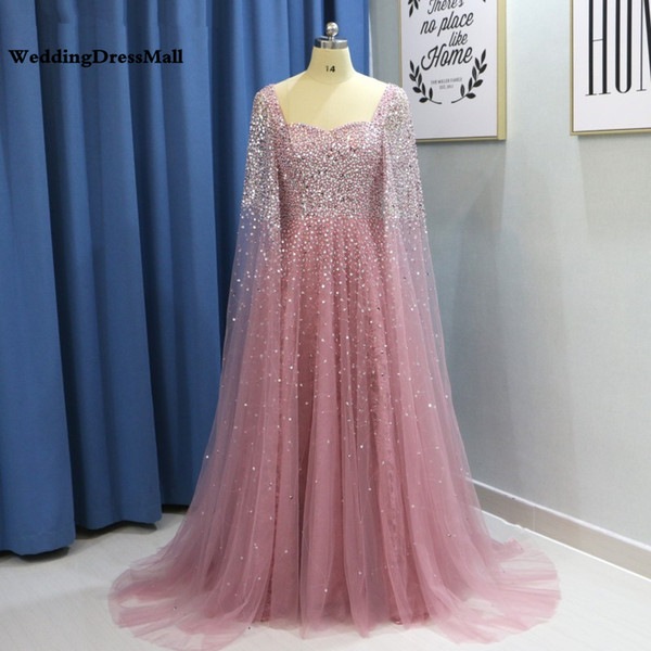 Dubai Women Evening Dresses Plus Size 2019 Luxury Pink Beaded Crystal  Arabic Prom Dress With Cape Champagne Green Formal Gowns Plus Size Bolero  ...