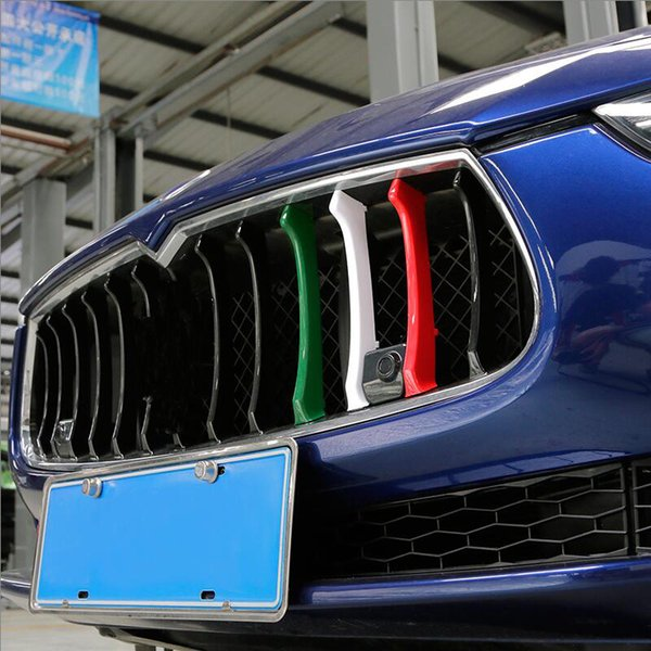Car Styling Tricolor Rejilla delantera tiras de decoración ABS exterior cubierta de la etiqueta engomada de Maserati Ghibli Quattroporte accesorios