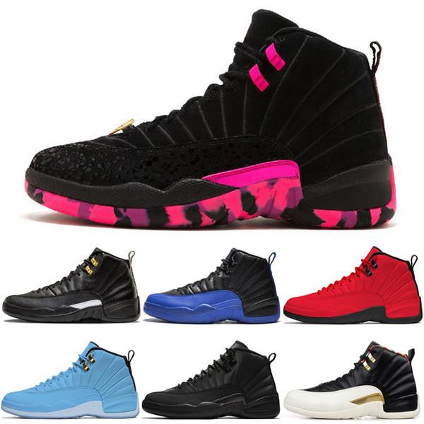 TOP 12 12s Hommes Chaussures de basket FIBA Royal Game Taxi inverse CNY grippe jeu gris foncé Playoffs Doernbecher entraîneurs des hommes de sport Chaussures de sport 7-13