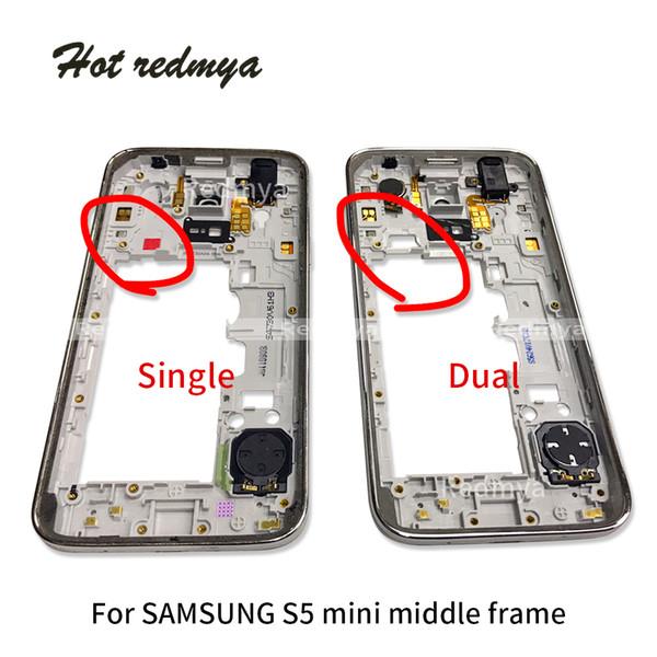 1 stücke mittleren rahmen für samsung galaxy s5 mini g800 dual einzigen sim mittleren gehäuse äußeren rahmen lünette chassis + taste