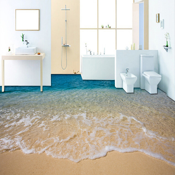 Пользовательские 3D Пляж Морская Вода Гостиная Спальня Ванная Комната Пол Настенные Росписи Самоклеящиеся Виниловые Обои Home Decor De Parede