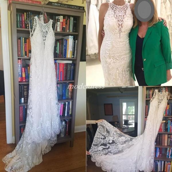 Charming Lace Mermaid Wedding Dresses Jewel Sweep Train See Through Appliques Garden Country Chapel Bridal Gowns vestido de novia 2019