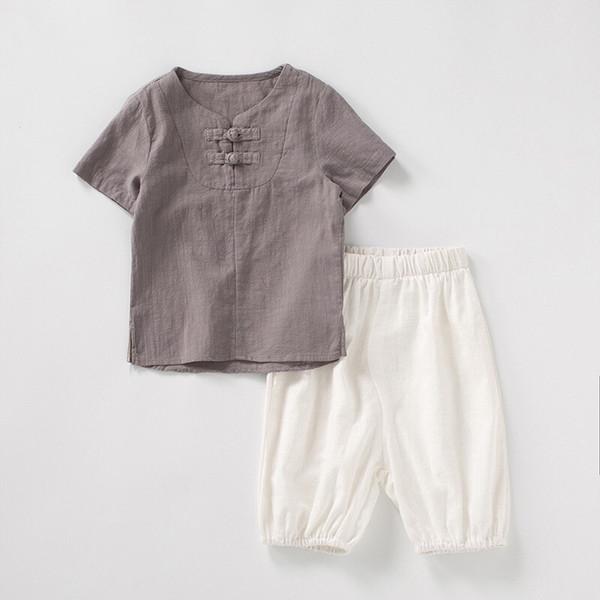 INS Newest Designs Organic Linen Cotton Kids Boys Suits Summer Short Sleeve T-shirts Front Oblique Buttons Tees + Pants 2pieces Children Set