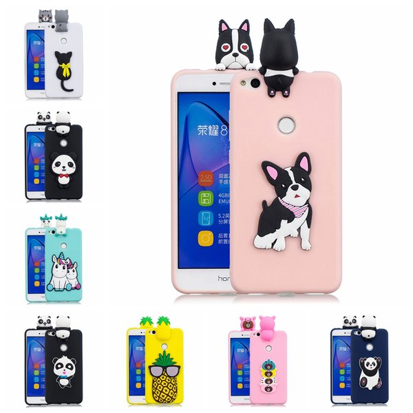 For Huawei P8 Lite 2017 Case TPU Cover Pasted 3D Funny Panda Sticking a Little Silicon Doll 61 Models Option