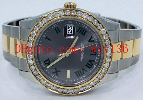 Calidad AAA Datejust II 116333 18 K Oro amarillo / SS 41 mm Mens automático maquinaria Reloj Roman Gray Dial Diamond Relojes de pulsera de los hombres