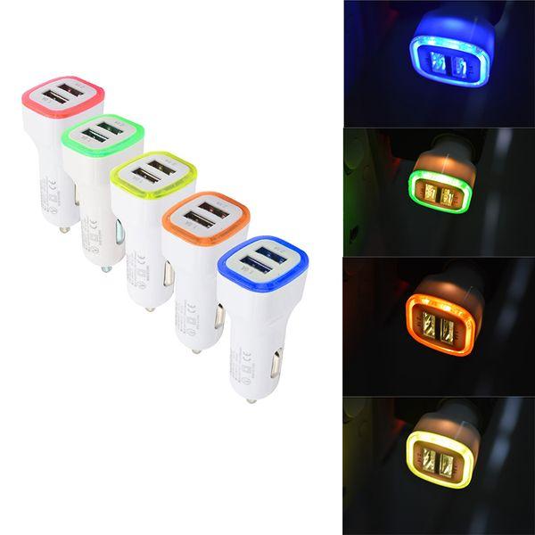 Venta al por mayor Cargadores de coche Puertos USB duales Adaptador de carga de luz LED universal para Samsung S7 HTC iPhone XR XS MAX Celular