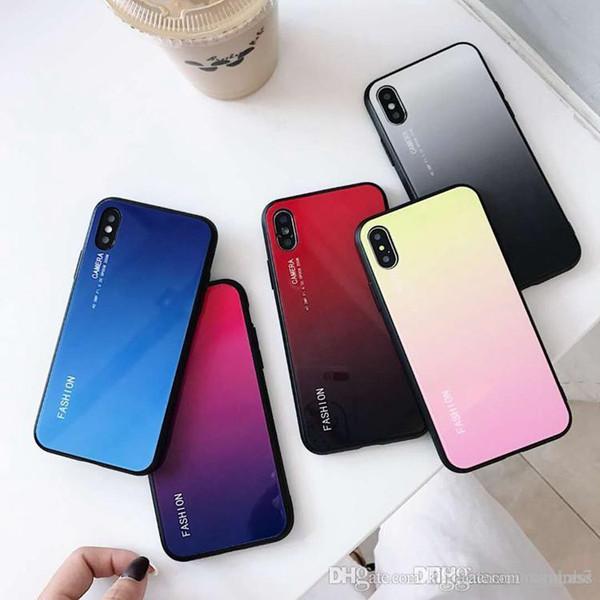 Nueva moda gradiente de color de vidrio templado contraportada celular cajas del teléfono móvil para Iphone XS MAX XR X 6 7 8 Plus funda de tpu a prueba de golpes duro