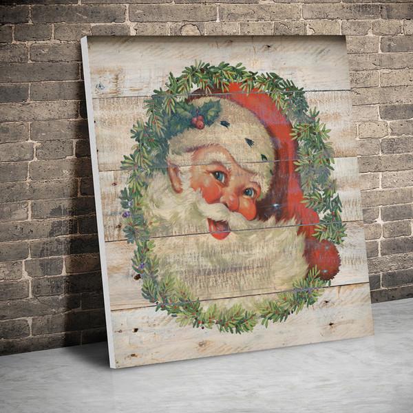 1 Panel Çerçeveli Vintage Santa Çelenk Noel Posterler Tuval Tablolar Wall Art Kanvas Baskı Resimler Çocuk Odası Ev