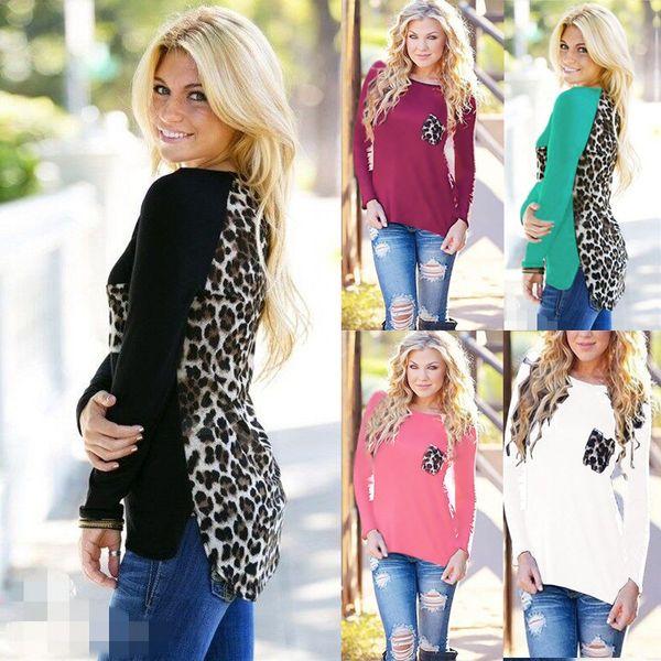 5 cores de tricô costura leopardo camisa de chiffon tamanho grande das mulheres de manga comprida gola redonda t-shirt assentamento suave fina camisa s-3xl hny83