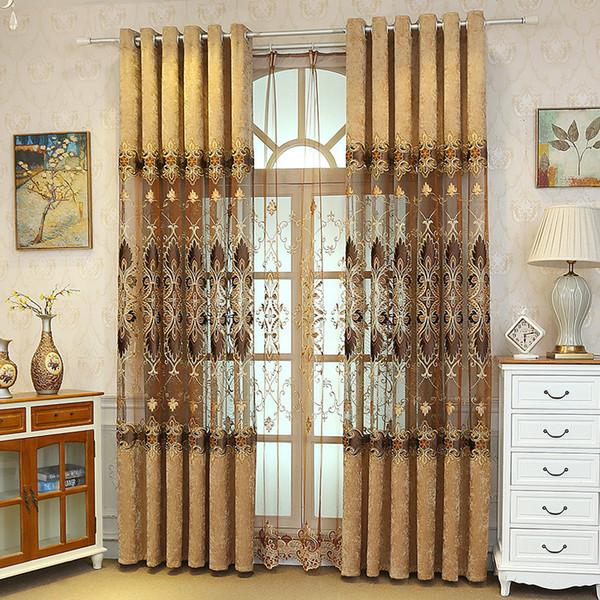 Atmosfera de luxo europeu de alta qualidade Chenille bordado semi-shade cortinas para sala de jantar sala de estar.
