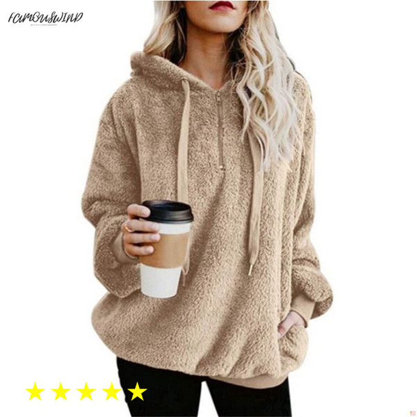 Flannel Russian New Jumper Hooded Sweater Women Solid Color Plus Velvet Warm Womens Tops Coat Hot 9 Colors Pullovers Mujer