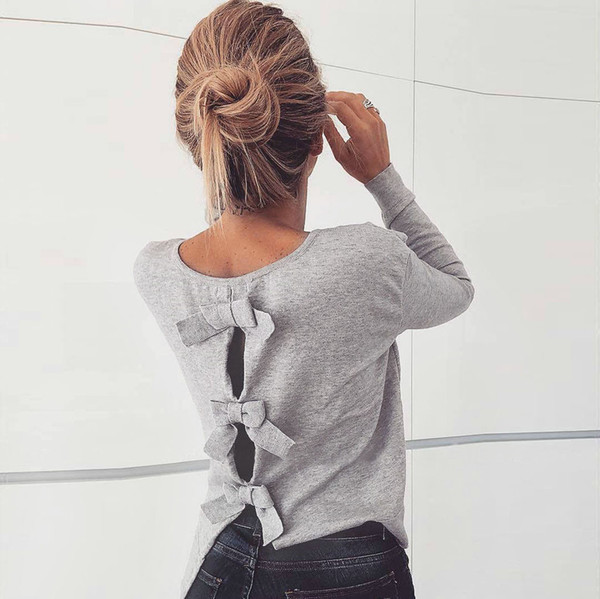 pullover women's cutout bow loose knit lady o-neck sweater long-sleeved solid color sweater slim fit pullover knit