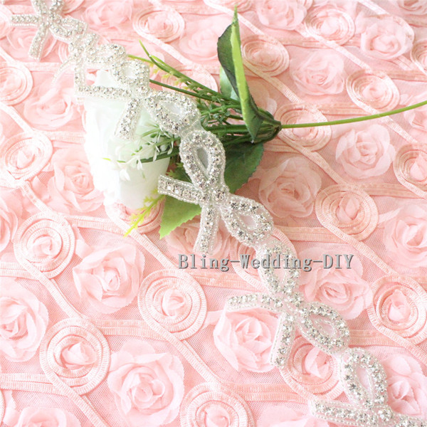 Wholesale Bridal Trim Butterfly Rhinestone Bow Applique banding cake Silver Beaded Crystal Bow Sewing Crafts patch for headband 1 yard